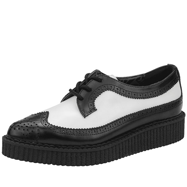 Black & White Leather Pointed Toe Wingtip Lo Sole Creeper by Tred Air UK