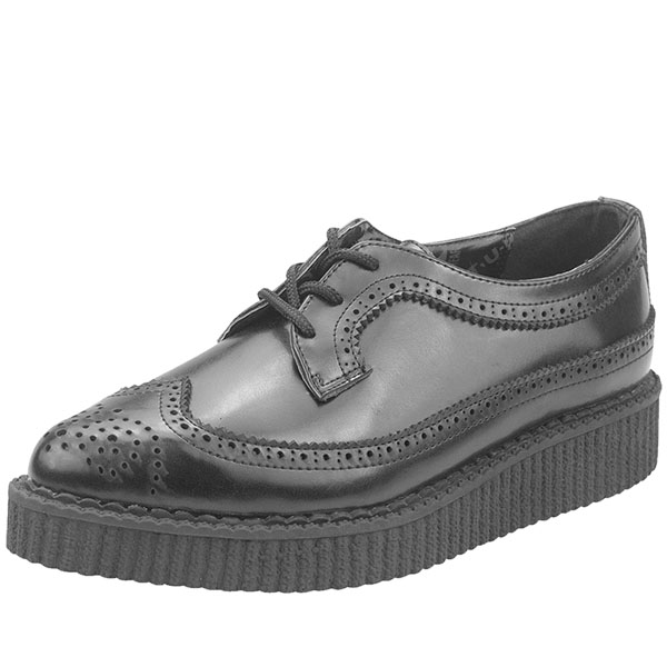 Black Leather Pointed Toe Wingtip Lo Sole Creeper by Tred Air UK