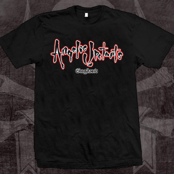 Angelic Upstarts- White & Red Logo on a black shirt (Sale price!)