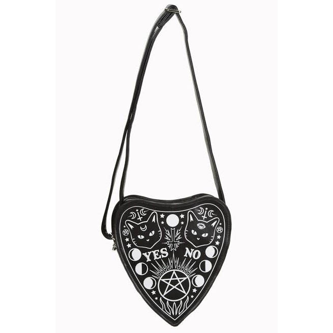 Internal Fire Black Cat Ouija Planchette Shoulder Bag by Banned Apparel