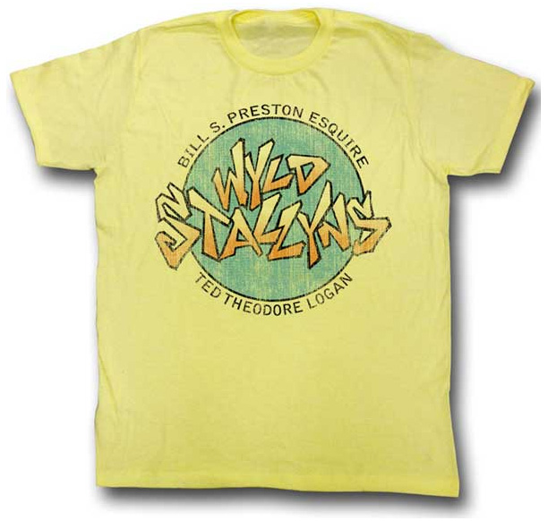 Bill & Teds Excellent Adventure- Wyld Stallyns on a yellow heather ringspun cotton shirt