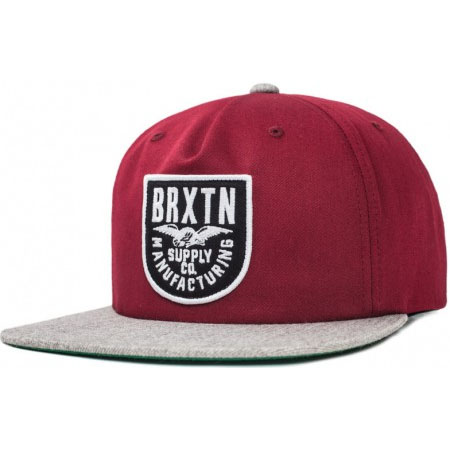 Alliance Snap Back Hat by Brixton- BURGUNDY / LIGHT HEATHER GREY