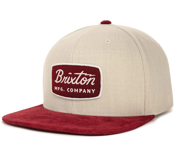 Jolt Snap Back Hat by Brixton- CREAM / BURGUNDY (Sale price!)