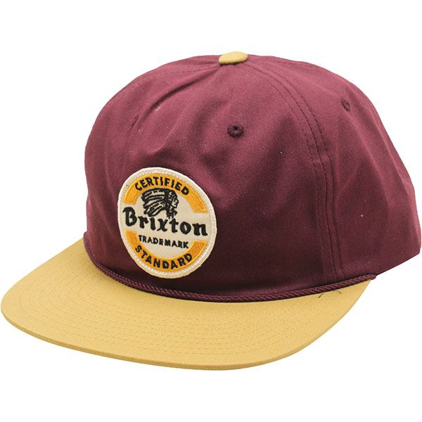Soto Snap Back Hat by Brixton- MAROON / GOLD (Sale price!)