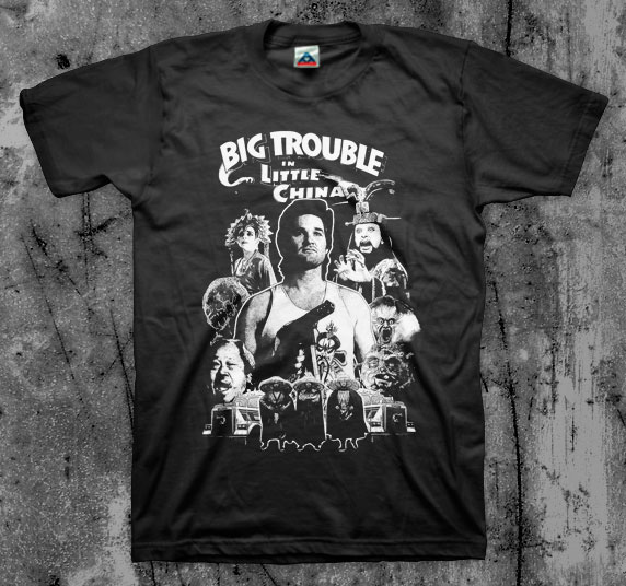 Big Trouble In Little China- Collage on a black shirt
