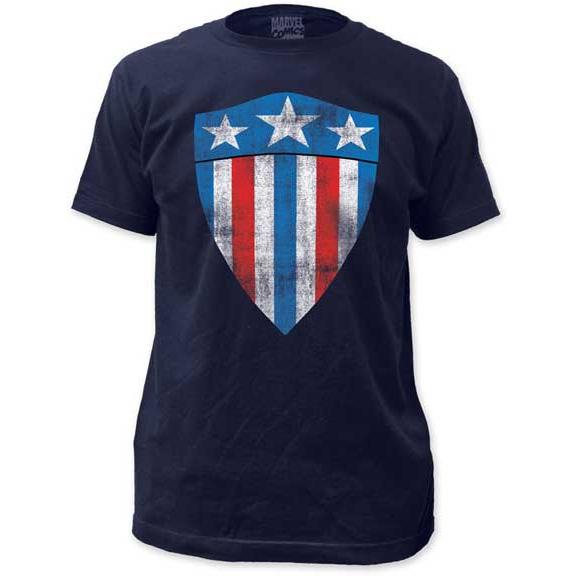 Marvel Comics- Captain America First Shield on a navy ringspun cotton shirt
