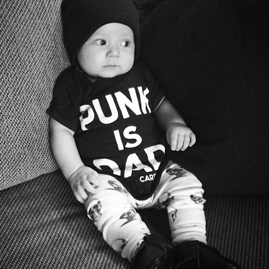 Punk Is Dad on a onesie by Cartel Ink (S:6m, M:12m, L:18m, XL:24m) Choose Black or Pink