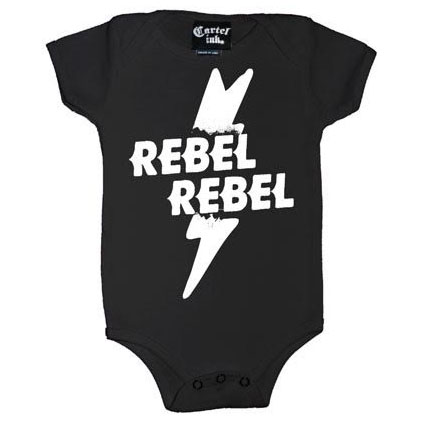 Rebel Rebel on a onesie by Cartel Ink (S:6m, M:12m, L:18m, XL:24m) Choose Black or Pink