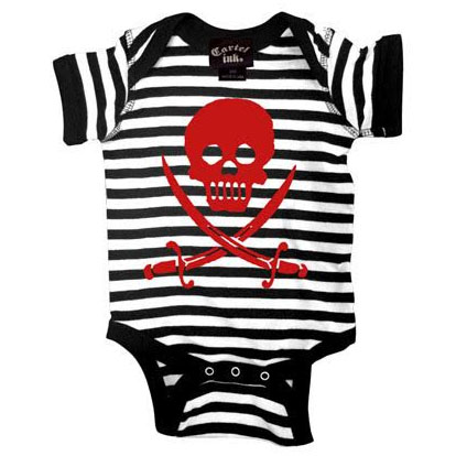 Skull & Sabre Striped onesie by Cartel Ink - Black & White