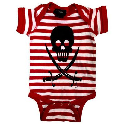 Skull & Sabre Striped onesie by Cartel Ink - Red & White