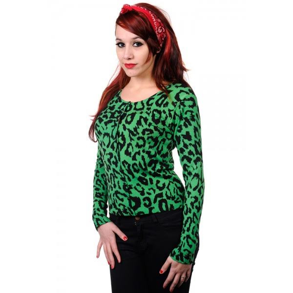 Green Leopard Cardigan by Banned Apparel