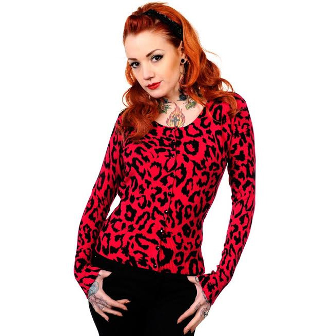 Red Leopard Cardigan by Banned Apparel - sz S & M only
