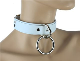 1 Ring Bondage Choker in White Leather by Funk Plus