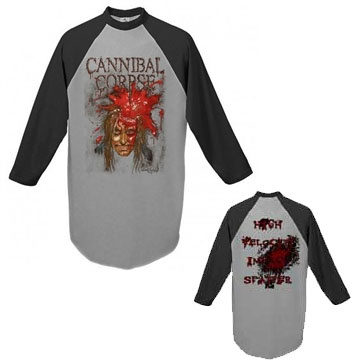 Cannibal Corpse- High Velocity Impact Splatter on front & back on a grey/black 3/4 sleeve shirt
