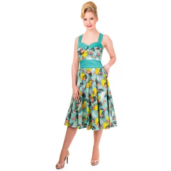 Wanderlust Flamingo Halter Dress by Banned Apparel - SALE sz XS & S only