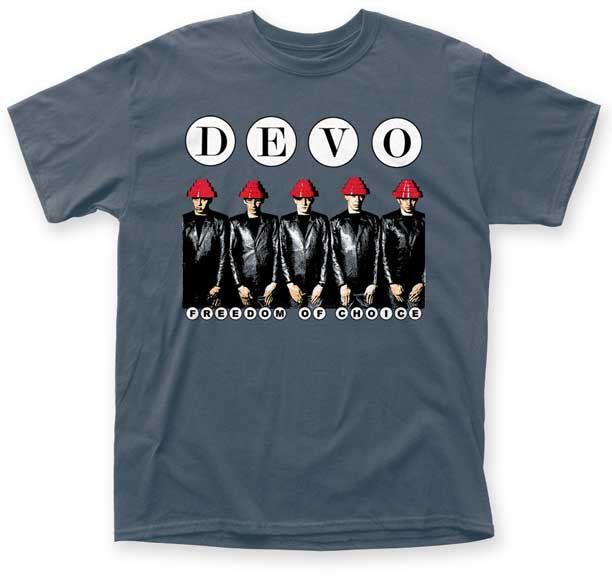 Devo- Freedom Of Choice on an indigo shirt