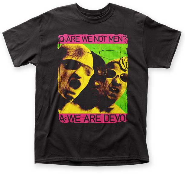 Devo- Are We Not Men? on a black shirt (Sale price!)