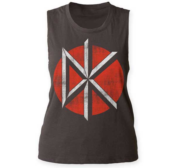 Dead Kennedys- Distressed DK on a charcoal sleveless girls shirt