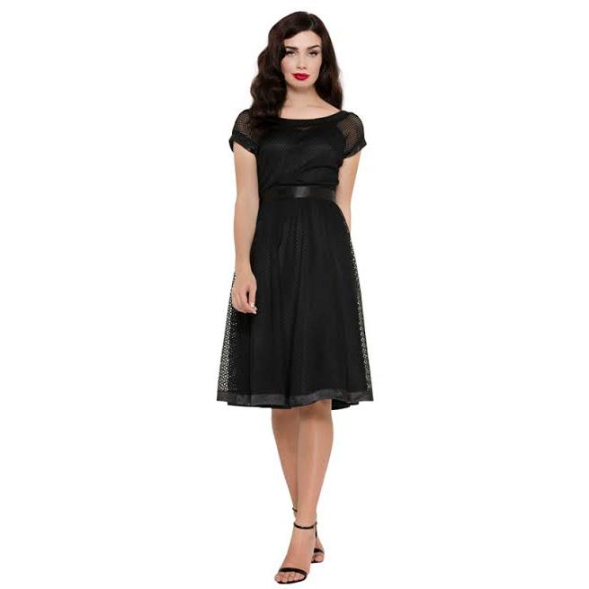 Raye Net Flare Dress by Voodoo Vixen - in Black - SALE sz S & L only