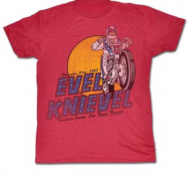Evel Knievel- Fountain Jump on a cherry tri-blend ringspun cotton shirt