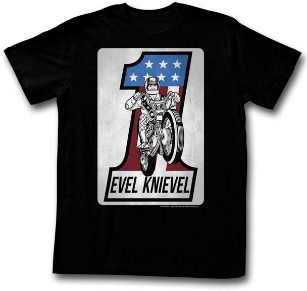 Evel Knievel- One & Bike on a black ringspun cotton shirt