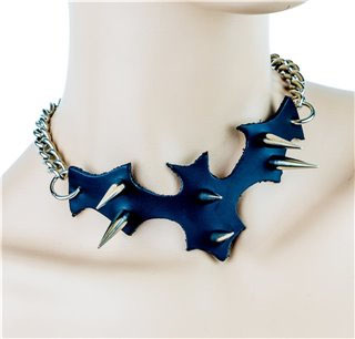 Studded Leather Bat Chain Choker by Funk Plus