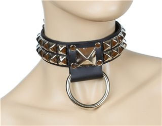 2 Rows Pyramids Bondage Black Leather Choker by Funk Plus