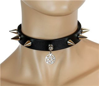 1 Ring Cone Spikes Black Leather Choker With Pentagram by Funk Plus