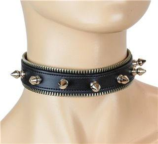 1 Row Spikes With Zipper Edge Black Leather Choker by Funk Plus