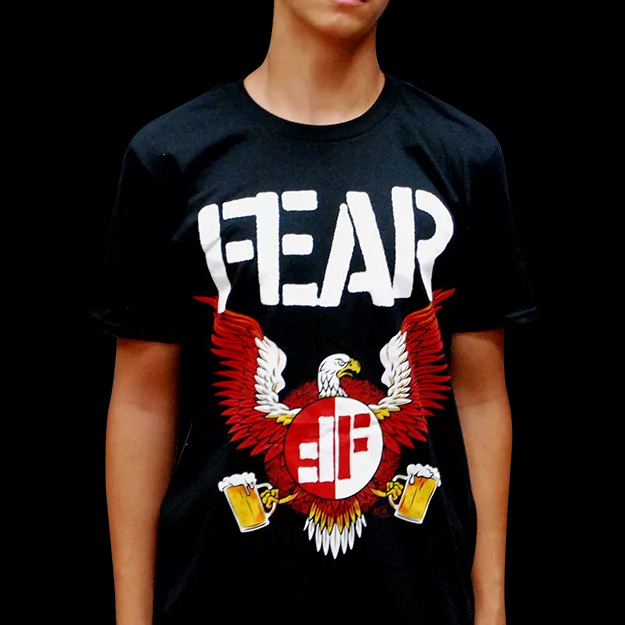 Fear- Beer Eagle on a black ringspun cotton shirt