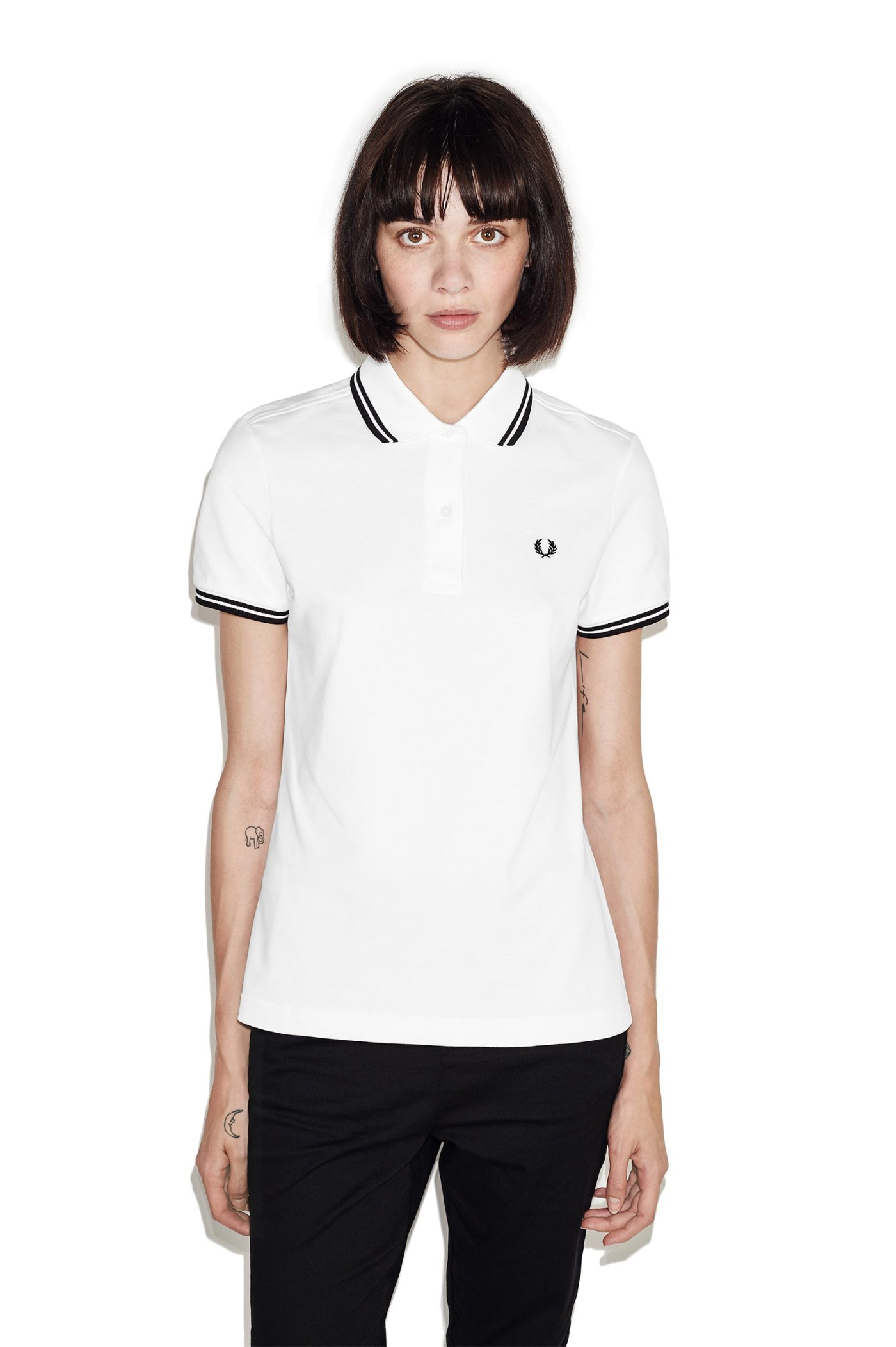 Fred Perry Twin Tipped Girls Polo Shirt Whiteblack