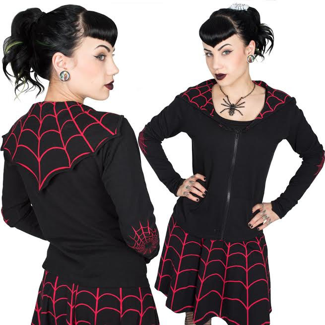 Spiderweb Bat Flap Jacket by Kreepsville 666 - RED