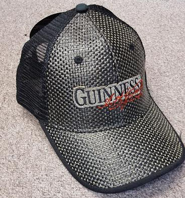 Guinness- Logo on front, Harp on back on a straw & black trucker hat (Sale price!)