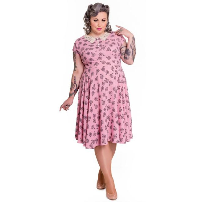 Penny Lover Plus Sized Vintage Style Dress by Hell Bunny - in Dusty Pink - SALE