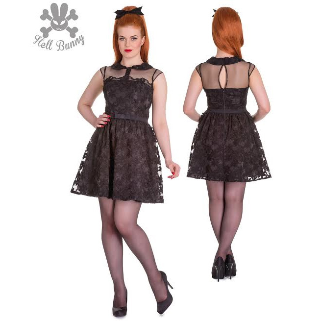 Shirelle Dress by Hell Bunny - Black Floral