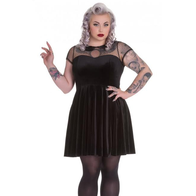 Nina Mini Plus Sized Skater Dress by Hell Bunny - in Black Velvet