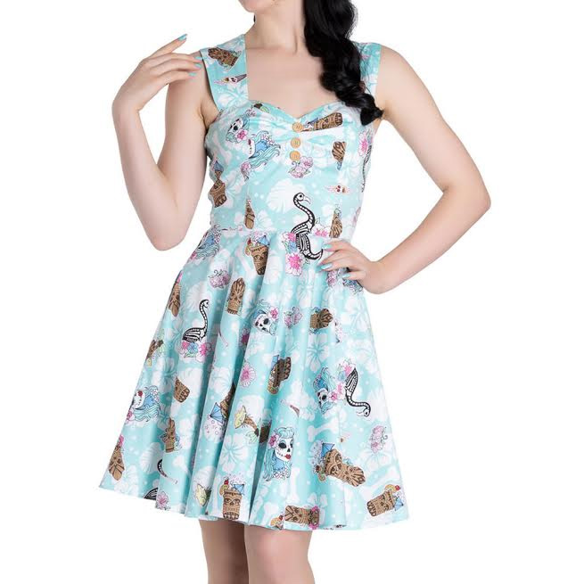 Suki Mini Dress by Hell Bunny - Zombie Tiki & Skele Flamingo Print