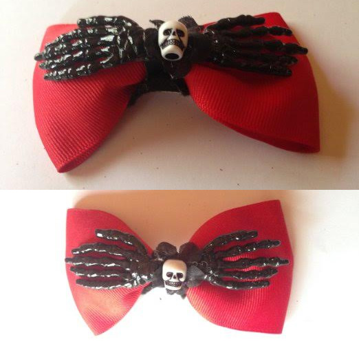 Skulleton Bows hair clips by Hairy Scary - SALE