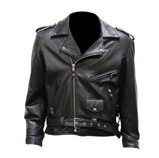 High Quality Black Naked Leather Motorcycle Jacket by IK/Crescent Bikers