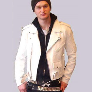 Basic Motorcycle Jacket- WHITE leather