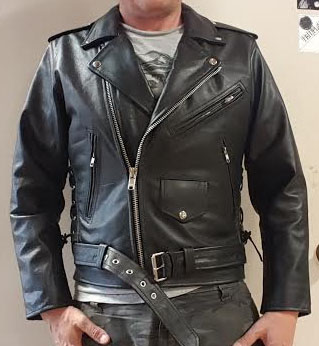 Black Leather Biker Jacket With Side Lacing & Zip Out Liner