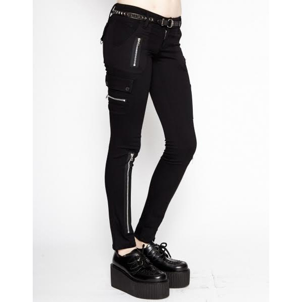 Exploited Pant- Girls Skinny Zipper Stretch Bondage Jean by Tripp NYC