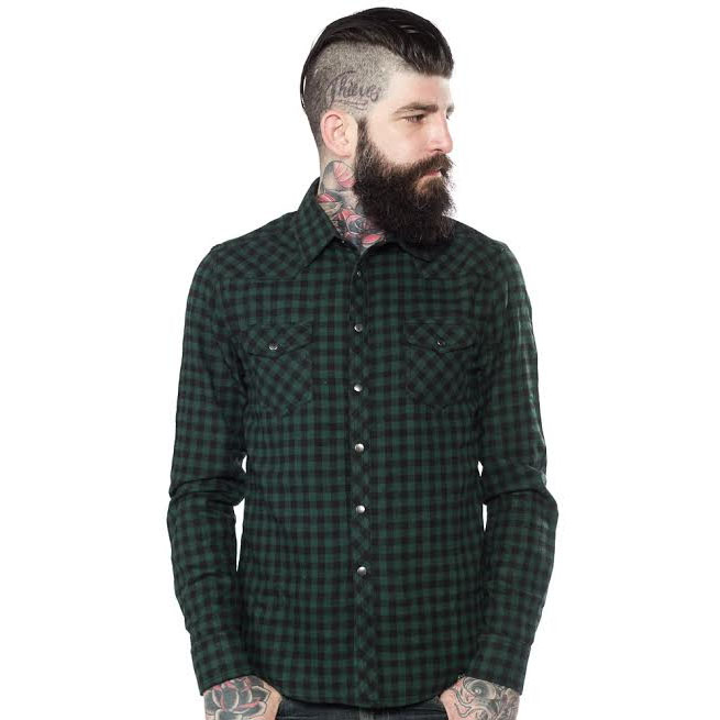 Kustom Kreeps Western Button Up Long Sleeve Guys Shirt by Sourpuss - in Green - SALE
