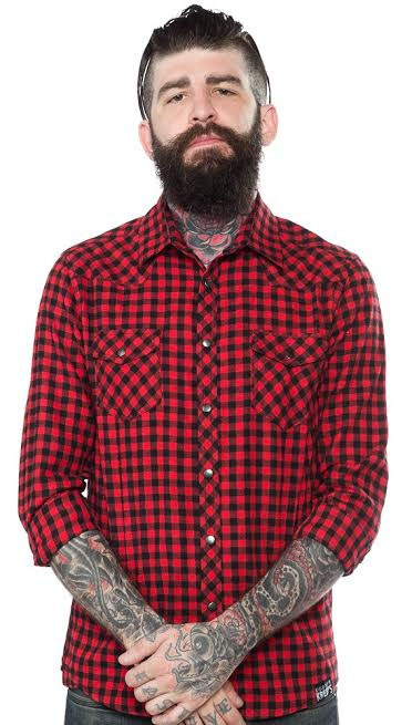 Kustom Kreeps Western Button Up Long Sleeve Guys Shirt by Sourpuss - in Red - SALE sz S only