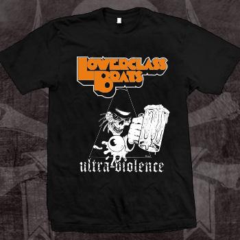 Lower Class Brats- Ultra Violence Skull on a black ringspun cotton shirt (Sale price!)