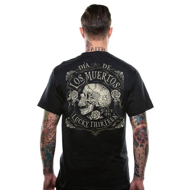 Dead Skull Dia De Los Muertos design on a black shirt by Lucky 13 Clothing