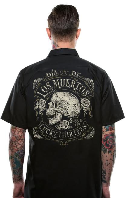 Dead Skull Short Sleeve Workshirt by Lucky 13 - SALE sz M only