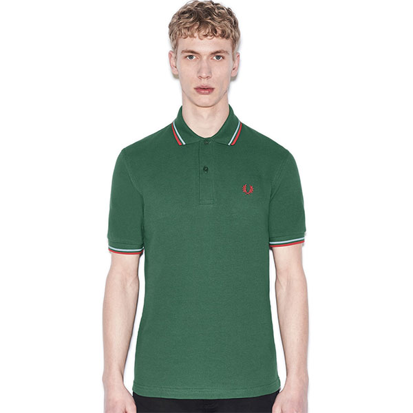 Fred Perry Laurel Collection Twin Tipped Polo Shirt- Tartan Green / Ice / Red (Made In England!)