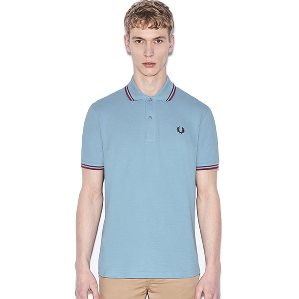 Fred Perry Laurel Collection Twin Tip Polo- Sky / Maroon (Made In England!)