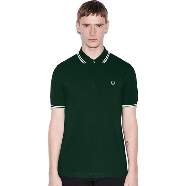 Fred Perry Polo Shirt- Ivy / Snow White
